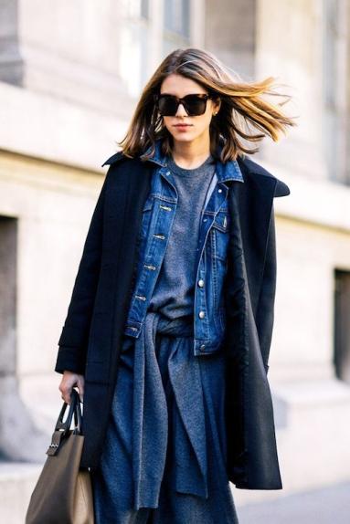 Le-Fashion-Blog-Street-Style-Layered-Spring-Look-Long-Bob-Oversized-Sunglasses-Thin-Black-Coat-Denim-Jacket-Grey-Tie-Front-Sweater-Dress-Via-Shot-By-Gio